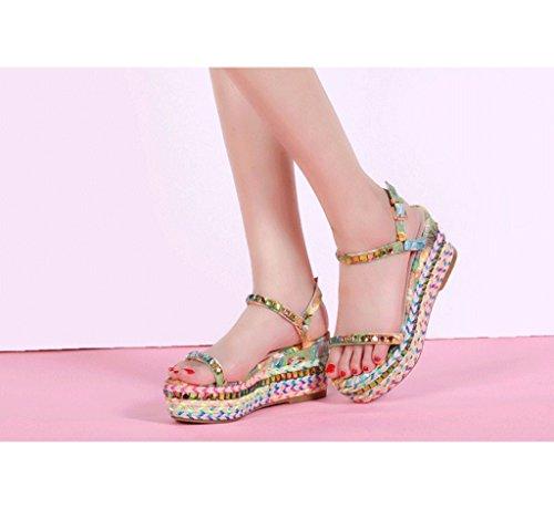 Punottu 33 Sandaalit Kengät Väriä Nilkka Monivärinen väri Kiilat Koko Lady Paksu qU4FR