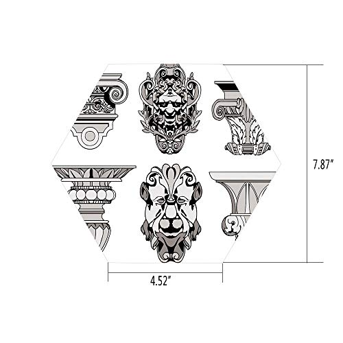 PTANGKK Hexagon Wall Sticker,Mural Decal,Toga Party,Roman Architectural Decorations Sphinx Lion and Column Antique Design,Light Grey Black,for Home Decor 4.52x7.87 10 Pcs/Set ()