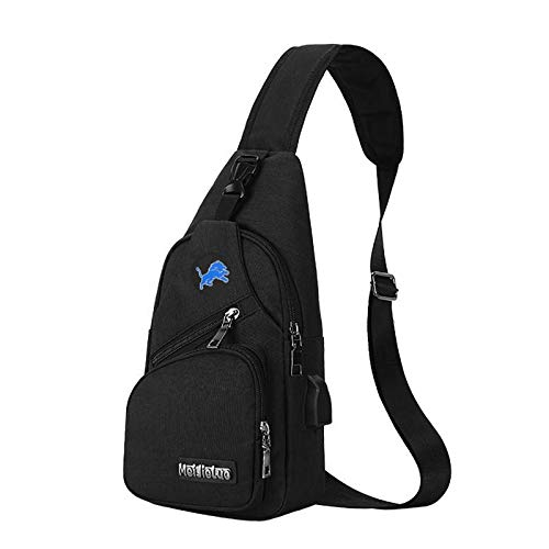 CHNNFC NFL Unisex Black Sling Backpack Chest Bag Travel Hiking Daypack for Outdoor Sports Camping - Detroit Lions
