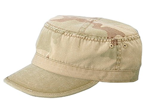 Camo Cadet Cap - Wholesale Enzyme Washed Cotton Army Cadet Castro Hats - 20774 New Desert One Size