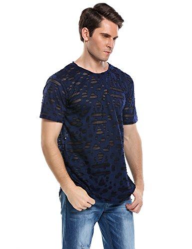 COOFANDY Men's Causal Hipster Hip Hop Streetwear Ripped Round Hemline Hole T Shirt Swag Curve Hem Longline Shirt Latest Fashion