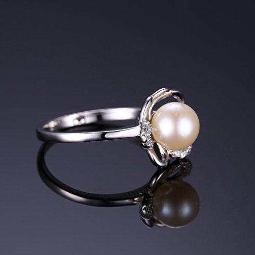 JewelryPalace Magnifique Bague Femme Fleur en Argent Sterling 925 avec une Perle d'Eau Douce Culture Blanche 7mm