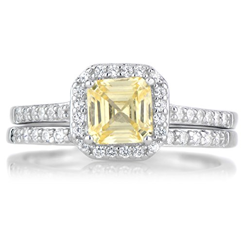 1.5 CT Asscher Cut Canary CZ Wedding Ring Set