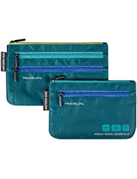 World Travel Essentials Set of 2 Currency and Passport Organizers, Peacock Teal, One Size