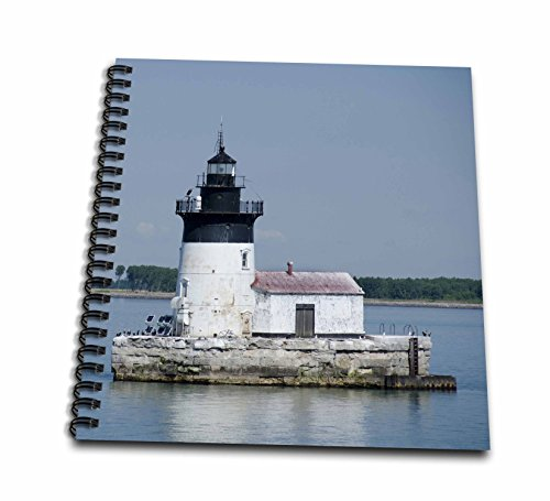 3dRose db_144690_2 Detroit River Lighthouse, Michigan, USA-Us23 Cmi0000-Cindy Miller Hopkins-Memory Book, 12 by 12