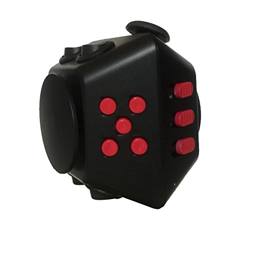 CHZ&D Spinning Magic Fidget Cube 2 in 1 Combined Gyro Spinner with Magic Cude Relieves Stress and Anxiety (Black) ()