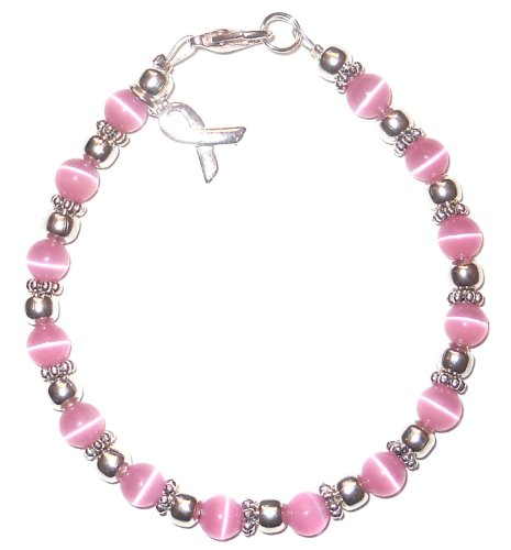 Hidden Hollow Beads Cancer Awareness Bracelet, For Showing Support or Fundraising Campaign, Adult Size with Extension, 6mm Cat's Eye Beads. Comes Packaged. (Breast Cancer - Pink)