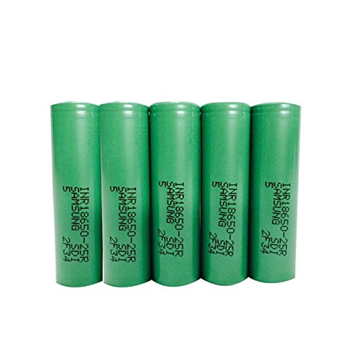 5 Samsung INR18650 25R 18650 2500mAh 3.7v Rechargeable Flat Top Batteries
