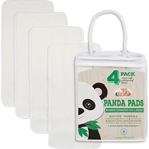 "Changing Pad Liners BAMBOO 4-PACK – Softer, Thicker & Cute 3 layer 14"" x 27"" Design. Panda Pads - A Waterproof Mat to cover your Diaper Changing Table, Diaper Changing Pad or Mattress (Lap Pad Set)"