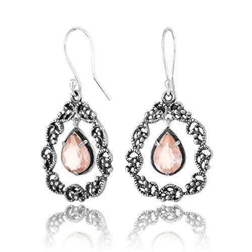 PZ Paz Creations 925 Sterling Silver Lace Teardrop Gemstone Dangle Earrings (Rose-de-France)