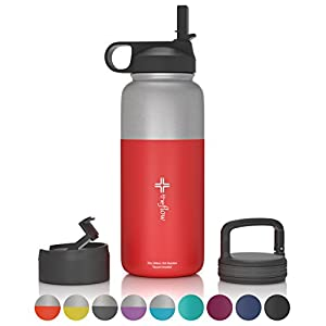 the flow Stainless Steel Water Bottle Double Walled/Vacuum Insulated - BPA/Toxin Free – Wide Mouth with Straw Lid, Carabiner Lid and Flip Lid, 32 oz.(1 Liter) (Stainless red, 32oz)