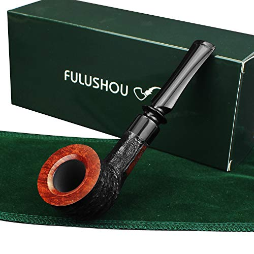 FULUSHOU Mediterranean Briar Wood Tobacco Pipe, Small Type Carved Tobacco Pipe