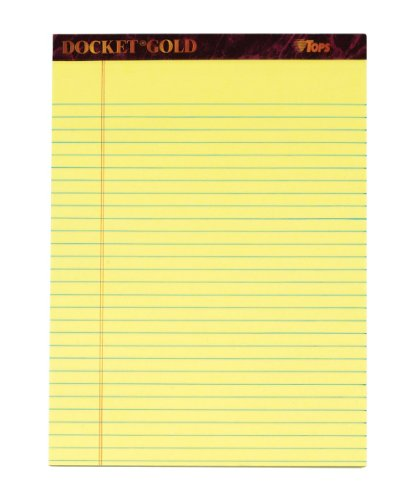Premium Ruled Writing Pads (TOPS Docket Gold Writing Tablet, 8-1/2 x 11-3/4 Inches, Perforated, Canary, Legal/Wide Rule, 50 Sheets per Pad, 6 Pads per Pack (99707))
