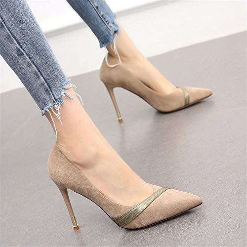 alti stiletto la Le scarpe B scarpe abbinano bocca da punta YMFIE elegante singolo a scamosciate donna lavoro da temperamento tacchi bassa sexy zRq7wg