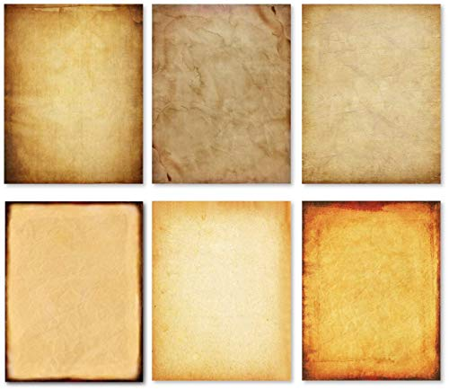Stationary Paper - Old Fashion Aged Classic Antique & Vintage Assorted Design - Double-side Parchment Paper - Perfect for Certificate, Crafting, Invitations & other Art Projects - 8.5x11 Inches (60)