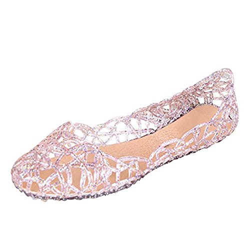 Jelly Ballet Flat Shoes Summer Women's Slip On Jelly Sandals,7,Pink ()