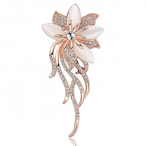 Ailer Classy Brooches for Women Created Cats Eye Flower Bouquet Bridal Brooch Pin