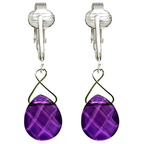 Beautiful Glass Briolette Clip On Earrings for Women, Petite Dangle, French Style, Unpierced Ears (Purple)