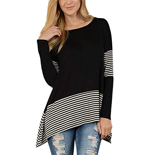 Sunhusing Womens Irregular Striped Hem Bottoming Shirt Stitching Striped Long Sleeve Tunics Top ()