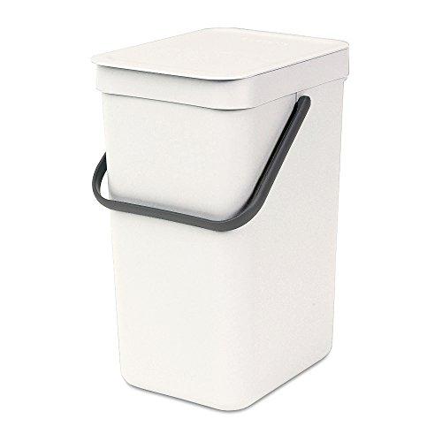 Brabantia Sort & Go Waste Bin, 16L/4.2 Gal. , 16 L, White