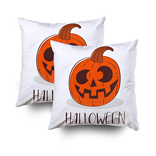 Shorping Zippered Pillow Covers Pillowcases 16x16Inch 2 Pack Christmas Happy Halloween Poster Evil-Smiling Pumpkin Decorative Throw Pillow Cover Pillow Cases Cushion Cover for Home Sofa Bedding