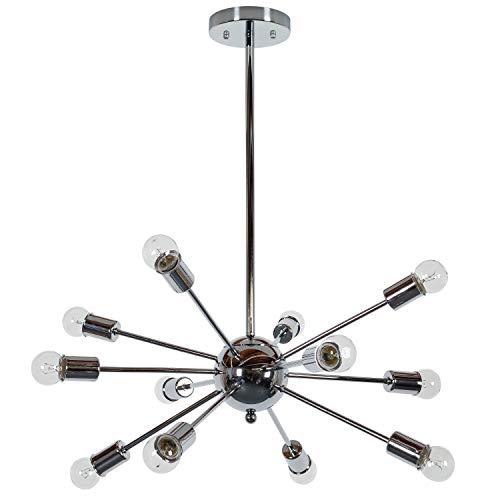 Mid Century Modern 12 Lights Sputnik Chandelier - Includes Modhaus Living Pen (Chrome)