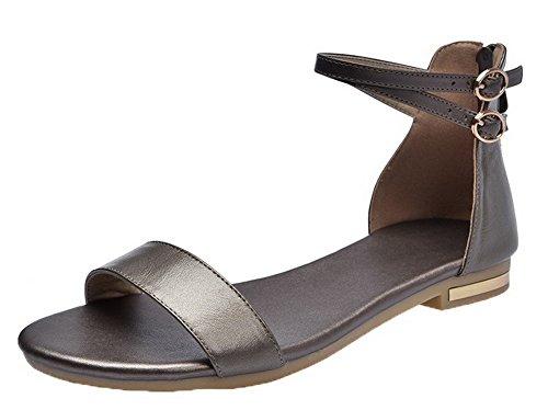 VogueZone009 Women Zipper Pu Open-Toe Low-Heels Solid Sandals Gold