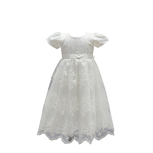 ZAMME Vestido de niña de niña de bautizo bautizos vestido de niña de flor Blanco