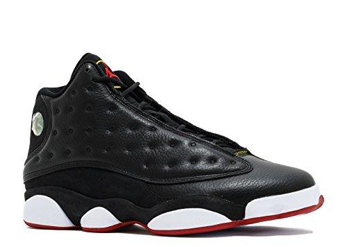 Mens Jordan Air 13 Retro Playoffs Chaussures De Basket-ball - 414571 101 Noir / Blanc / Jaune Vibrant / Rouge Varsity