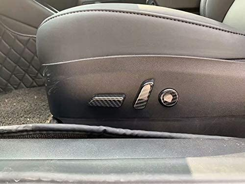 Haute qualit/é de la Fibre de Carbone Voiture ABS Int/érieur Si/ège Commandes Bouton Couverture de Finition for Tesla Model 3 2018-2019 en Fibre de Carbone Style 6-pc Style de Voiture