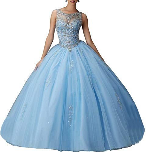 SweetBei Juniors Girls' Ball Gown Beaded Tulle Prom Quinceanera Dress 2016 Blue 2