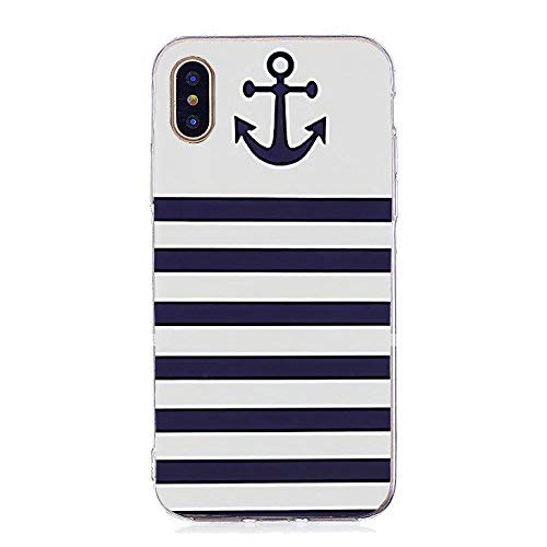 (Inonler Striped anchor and sailor suit, great navy soft TPU silicone pattern case for iPhone X,blue)
