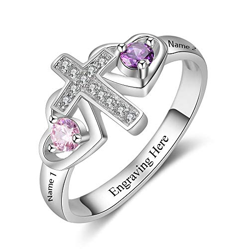 Lam Hub Fong Personalized Cross Ring for Women Engravable 2 Simulate Birthstones Mothers Cross Rings Promise Rings (7) ()
