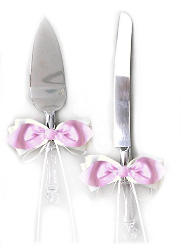 Pink Pie Server - SACASUSA(TM) Pink Satin Bow IVORY Ribbon Cake Knife and Server Set