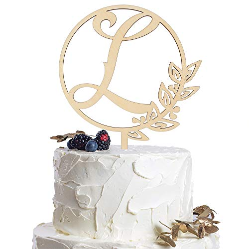 Letter L Personalized Initial Wood Cake Topper Monogram Wedding Anniversary Birthday Vow Reveal Party Decoration Supplies. (Toppers L Cake Wedding Monogram)