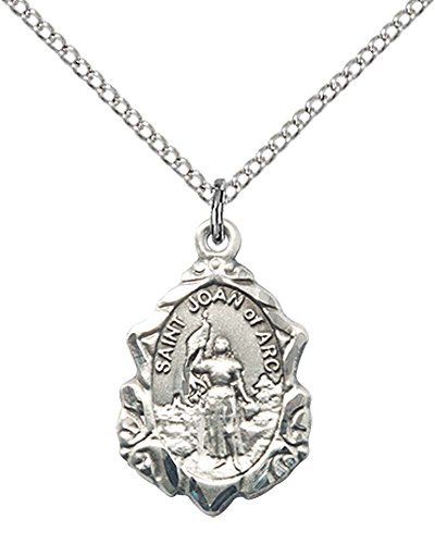 Sterling Silver St. Joan of Arc Pendant with 18