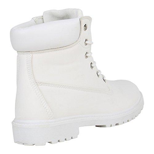 Stiefelparadies Gefütterte Herren Worker Boots Outdoor Schuhe Schnürstiefel Flandell Weiss Autol