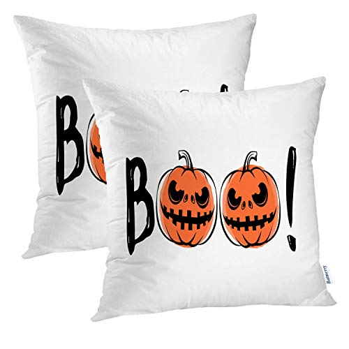(Batmerry Halloween Pillow Covers 18x18 inch Set of 2, Halloween Sound Grunge Scary Retro Greeting Motivational Quote Party Throw Pillows Covers Sofa Cushion Cover)