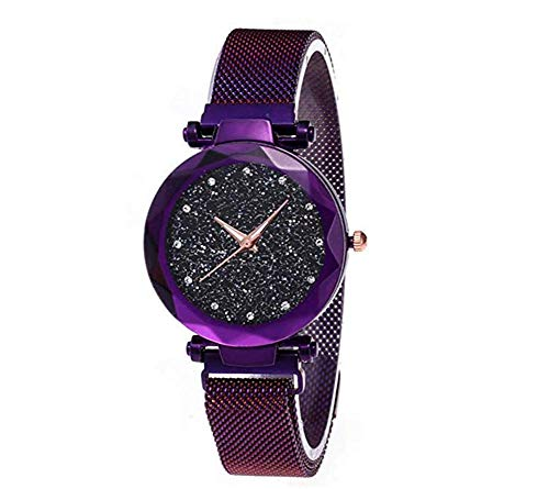 Watches Trendy Women - Women's Watches with Black Sandstone Dial for Lady Watch, Trendy Waterproof Starry Sky Lady Watch, Purple