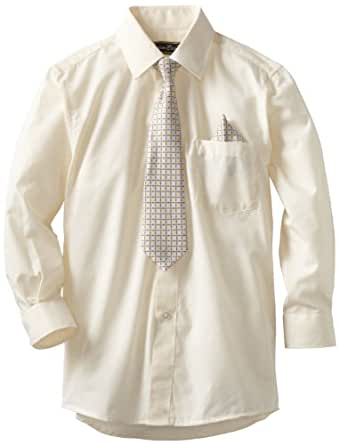 American Exchange Big Boys' Dress Shirt with Tie and Pocket Square, Off White, 8