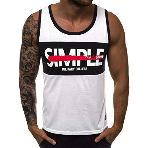 Corriee Mens Popular Sleeveless Tank Top Male Letter Print Vest Summer Sport Gym Tees Shirts White – Go4CarZ Store