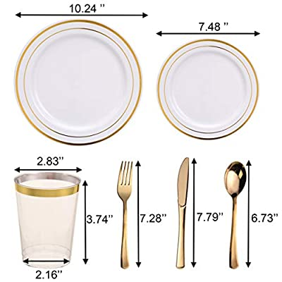 150 Pieces, Gold Disposable Plastic Dinnerware Set, Elegant Plates & Silverware & Cups for Wedding, Party, Includes 25 Dinner Plates, 25 Dessert Plates, 25 Tumblers, 25 Forks, 25 Knives, 25 Spoons