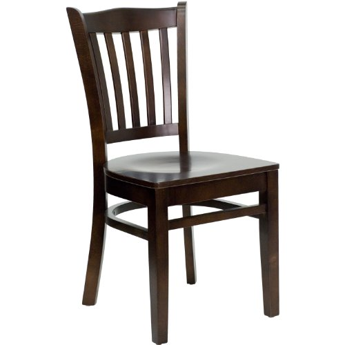 MFO Walnut Finished Vertical Slat Back Wooden Restaurant Chair