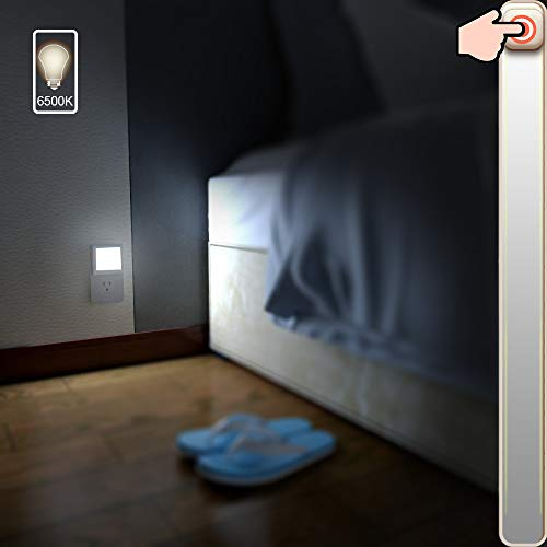 MAZ-TEK Plug-in Led Night Auto Dusk to to Dawn Sensor,Adjustable Brightness Cool White Lights for Hallway Bedroom, Kids Room, Kitchen, Stairway, 2 Pack, Count