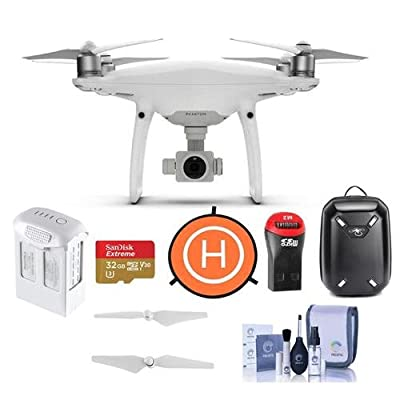 DJI Phantom 4 Pro Quadcopter Drone with Remote Controller - Bundle With 32GB MicroSDHC Card, DJI Hardshell Backpack, DJI Intelligent Battery, Propellers, Drone Landing Pad, Cleaning Kit, Card Reader