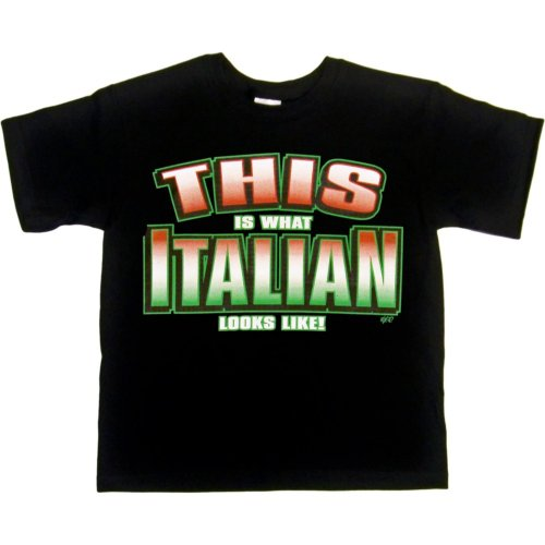 YOUTH T-SHIRT : BLACK - L - This is What Italian Looks Like - Ethnic -