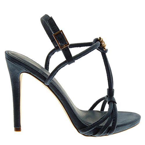 Angkorly Damen Schuhe Sandalen Pumpe - Stiletto - Knöchelriemen - T-Spange - Schmuck - Golden - Multi-Zaum Stiletto High Heel 12 cm Blau