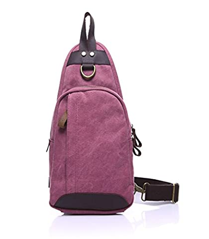 BEMAGSA Cool Outdoor Sports Casual Canvas Leather Shoulder Backpack Sling Chest CrossBody Bag Cover Pack Rucksack for Bicycle Sport Hiking Travel Camping Men Women-Rose red