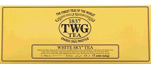 TWG Singapore - Luxury Teas - White Sky Tea - 3 x 15 Hand sewn pure cotton tea bags (45 count)