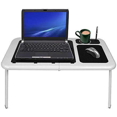 WoneNice LD09 White/Black Laptop Table with 2 Fans, Mouse Pad and Cup Holder (Laptop Desk Fan compare prices)